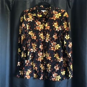 TopShop Floral Button Down w/ Collar